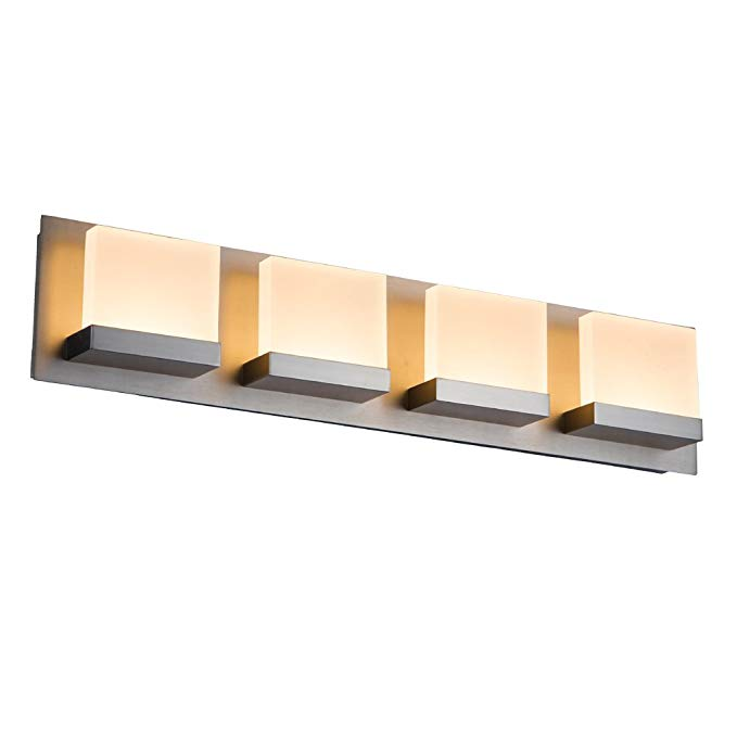JINZO LED Bathroom Vanity Lighting Fixture Wall Lights for Bathroom Lights-4 Lights Brush Nickel Finish.