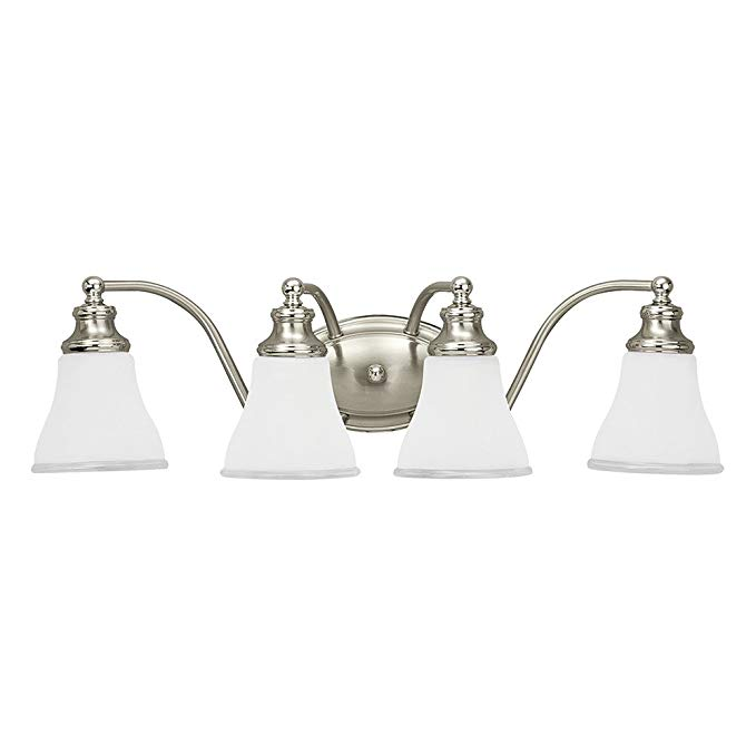 Sea Gull Lighting 40012-773 Alexandria Four-Light Bath or Wall Light Fixture with Clear Highlighted Satin Etched Glass Shades, Two Tone Nickel Finish