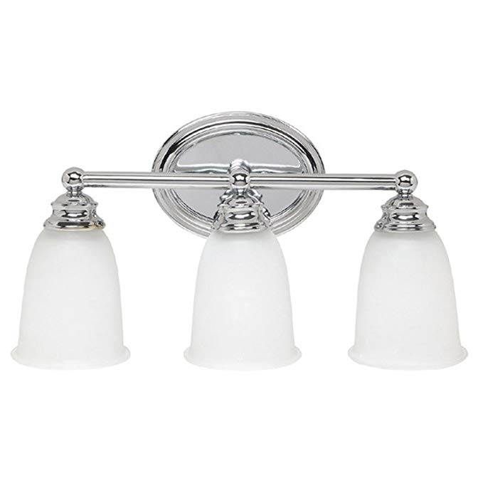 Capital Lighting 1083CH-132 3-Light Vanity Fixture, Chrome Finish with Acid Washed Glass