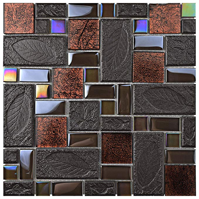 SomerTile GDXGVSWN Eden Versailles Walnut Glass and Stone Mosaic Wall Tile, 11.75